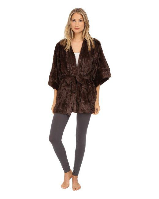 Natori | Brown Faux Fur Kimono | Lyst