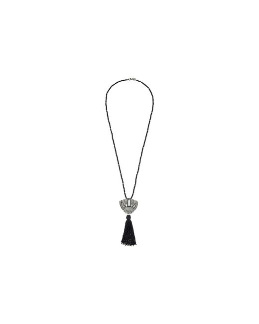 "Kenneth Jay Lane | 32"" Black Bead With Silver And Crystal Deco Pendant And Black Tassel Necklace 