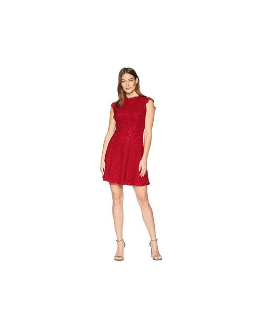 Alexia Admor - Ruffle Sleeve Fit Flare Lace Dress (red Chili) Dress - Lyst
