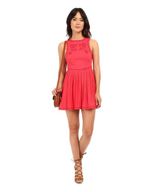 Free People | Red Birds Of A Feather Mini Dress | Lyst