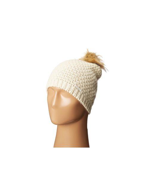 Lauren by Ralph Lauren | Natural Moss Stitch Slouchy Hat W/ Pom | Lyst