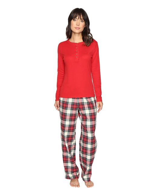 Lauren by Ralph Lauren | Red Folded Henley Top With Pants Pj | Lyst