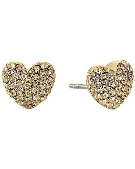 Michael Kors   Metallic Pave Hearts Tone And Light Colorado Crystal Heart Stud Earrings   Lyst