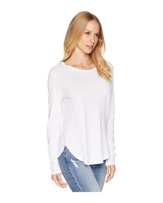 a94b68e4682d1b Lyst - LNA Essential Cotton Long Sleeve Crew Neck in White - Save 22%