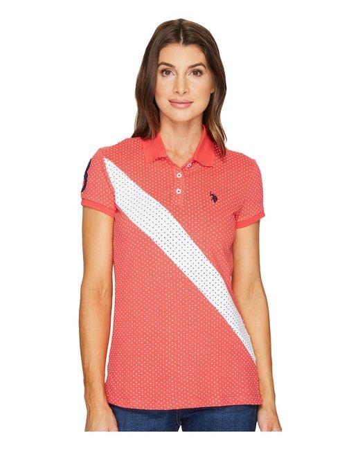 U.S. POLO ASSN.   Red Printed Stretch Pique Polo Shirt   Lyst
