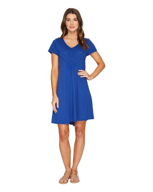 Mod-o-doc - Blue Supreme Jersey Embroidered Swingy Dress - Lyst