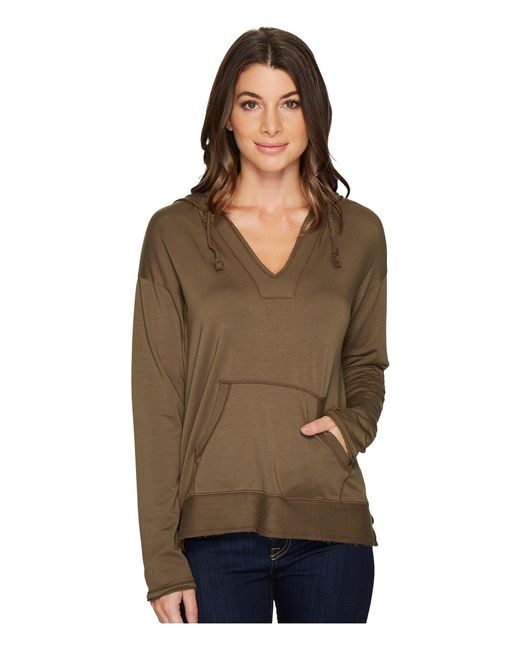 Mod-o-doc - Green Cotton Modal Spandex French Terry Drop Shoulder Pullover Hoodie - Lyst