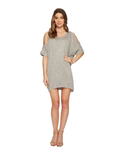 Nally & Millie - Gray Cold Shoulder French Terry Dress - Lyst