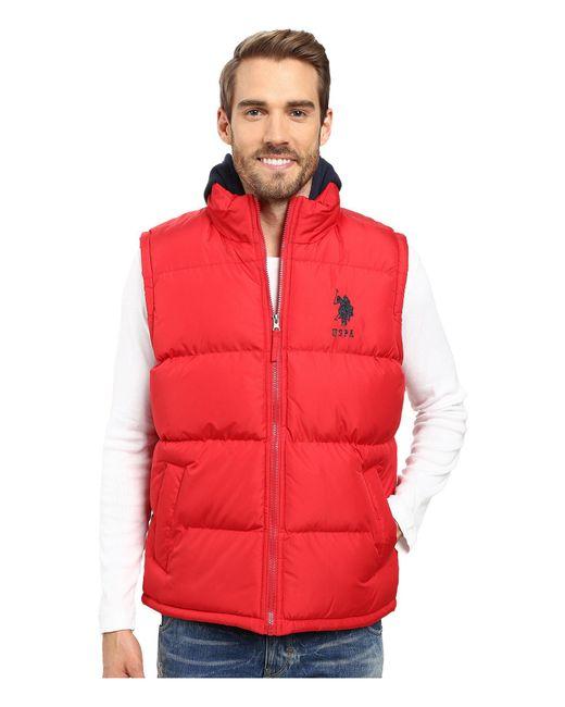 U.S. POLO ASSN. - Red Basic Puffer Vest With Fleece Hood for Men - Lyst