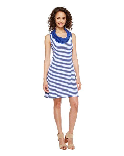 Three Dots | Blue Mykonos Stripes Cowl Neck Dress | Lyst