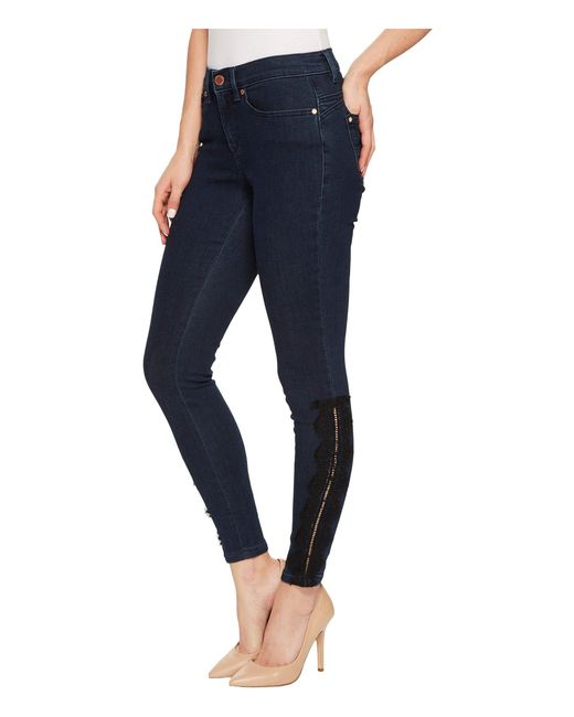 Ivanka Trump - Blue Denim Lace Trim Pants In Authentic - Lyst
