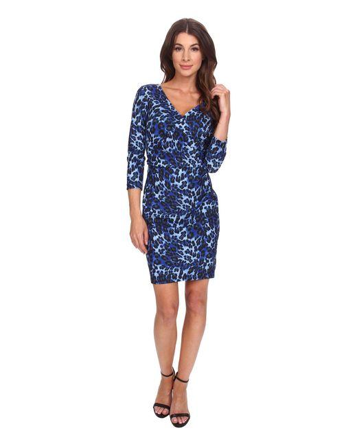 NYDJ - Blue Monique Cheetah Print Dress - Lyst