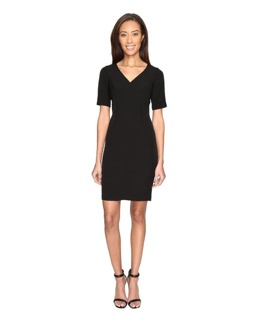 Adrianna Papell - Black Exposed Dart Stretch Crepe Dress - Lyst