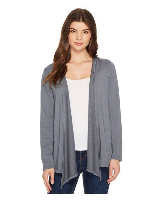 Mod-o-doc - Gray Cotton Modal Fleece Button Hem Hooded Cardigan - Lyst