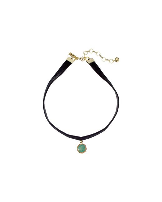 Vanessa Mooney - Black Velvet Choker With Small Circle Turquoise Charm Necklace - Lyst