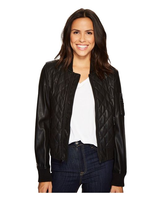 French Connection   Black Pleather Diamond Quilt Bomber   Lyst