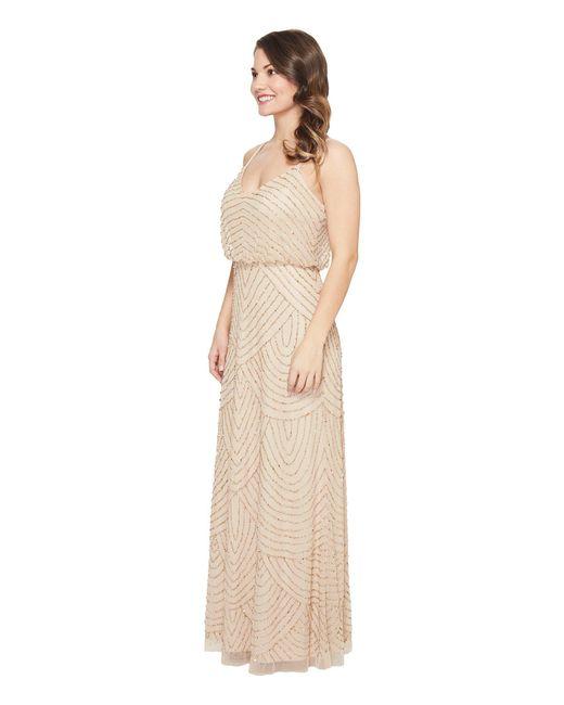 Lyst - Adrianna Papell Petite Long Beaded Blousson Slip Dress - Save ...