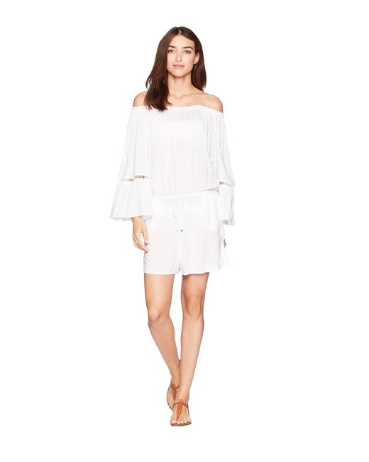 MICHAEL Michael Kors - White Solids Off The Shoulder Romper Cover-up W/ Inset Ladder Trim - Lyst