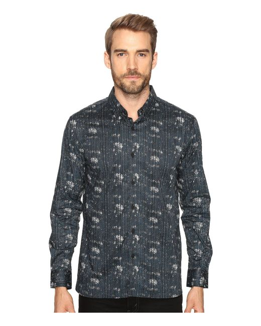 7 Diamonds - Blue Etched Out Long Sleeve Shirt for Men - Lyst