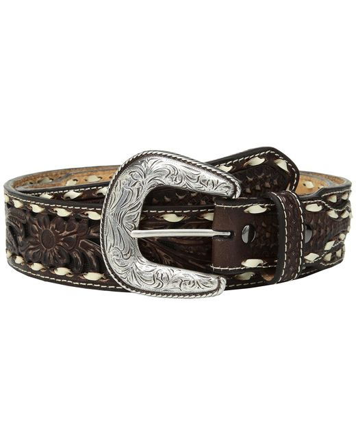 Ariat - Brown Floral Pierced With Buckstitch Belt for Men - Lyst