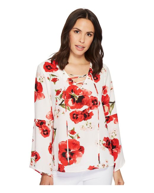 B Collection By Bobeau - Red Sybil Floral Lace-up Blouse - Lyst