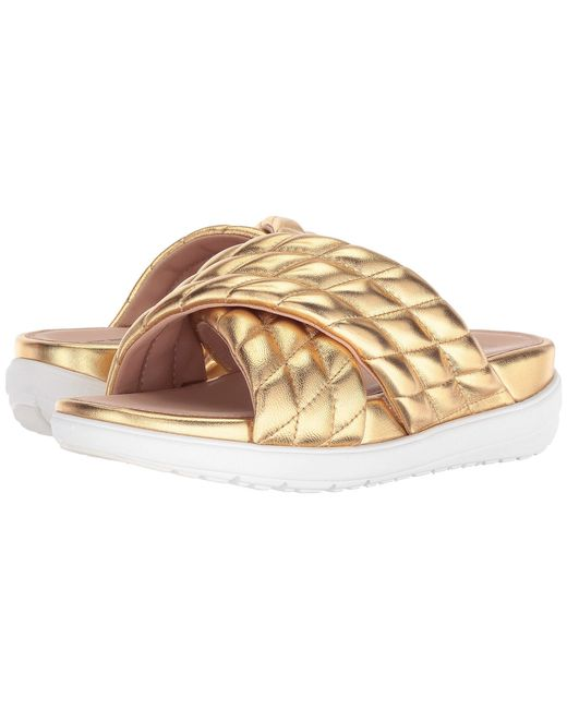 d3eb5d58b299a Lyst - Fitflop Loosh Luxetm Cross Slide Leather Sandals in Metallic ...