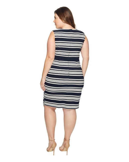 Lyst Adrianna Papell Plus Size Sleeveless Stripe Bodycon Dress In Blue