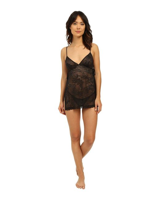 Natori - Black Feathers All Over Lace Babydoll Set - Lyst
