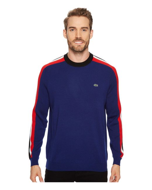Lacoste - Blue Mouline Jersey & Jacquard Wool Blend Sweater With Stripes On Sleeve for Men - Lyst