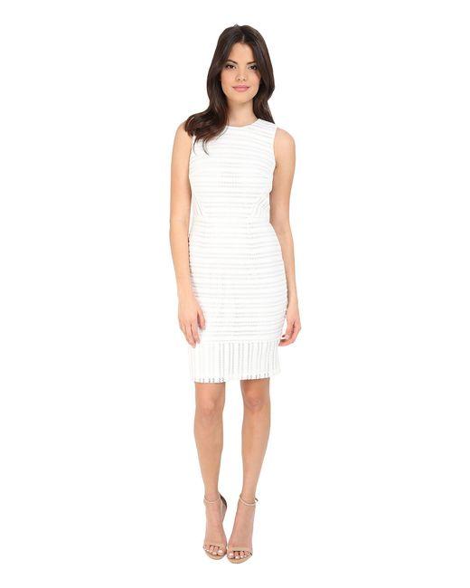 CALVIN KLEIN 205W39NYC - White Novelty Fabric Sheath Dress Cd6m2t8n - Lyst