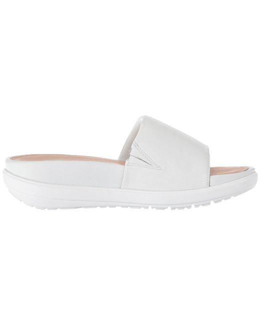 70426d85975b Lyst - Fitflop Loosh Luxetm Leather Slide Sandals in White - Save 44%