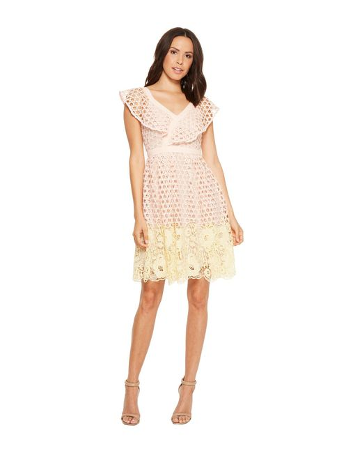 Donna Morgan - Yellow Ruffle V-neck Lace Dress - Lyst