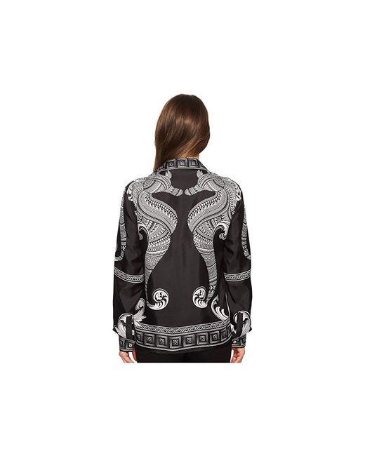 f326d6579 ... Versace - Black Camicia Donna Tessuto Long Sleeve Print Shirt (nero/ stampa) Clothing