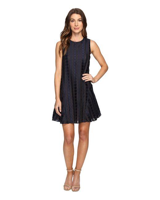 Donna Morgan - Blue Sleeveless Dot Burnout Jacquard Sleeveless Trapeze Dress - Lyst