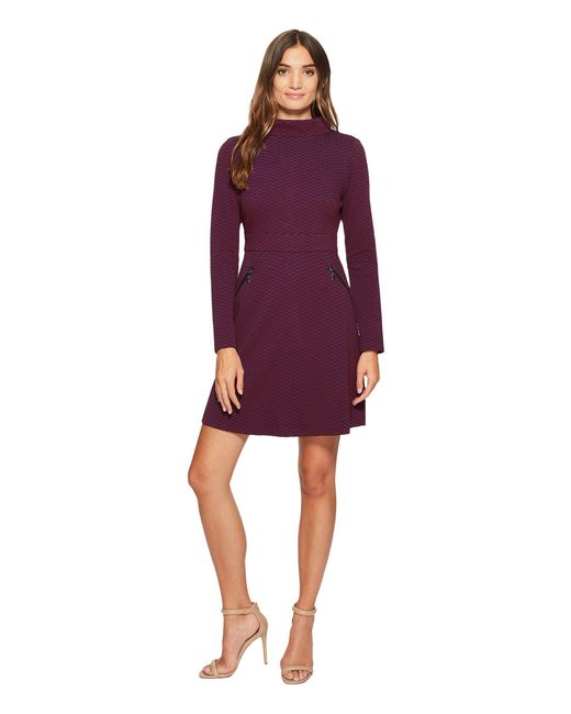 Maggy London - Purple Retro Jacquard Fit & Flare Dress - Lyst