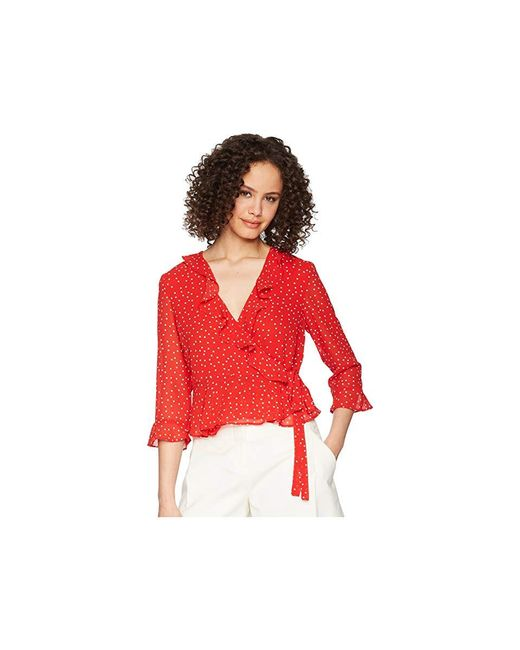f0a86d82caa Bardot Spotty Wrap Top (berry Spot) Clothing in Red - Save 63% - Lyst