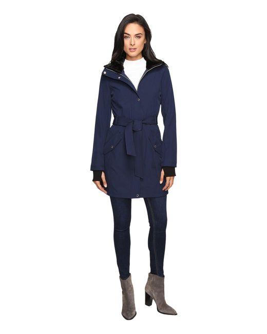 Jessica Simpson - Blue Long Softshell W/ Faux Fur Collar And Hood - Lyst