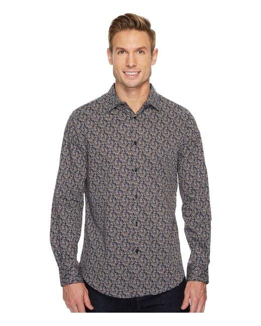 Perry Ellis - Gray Long Sleeve Printed Leaf Shirt for Men - Lyst