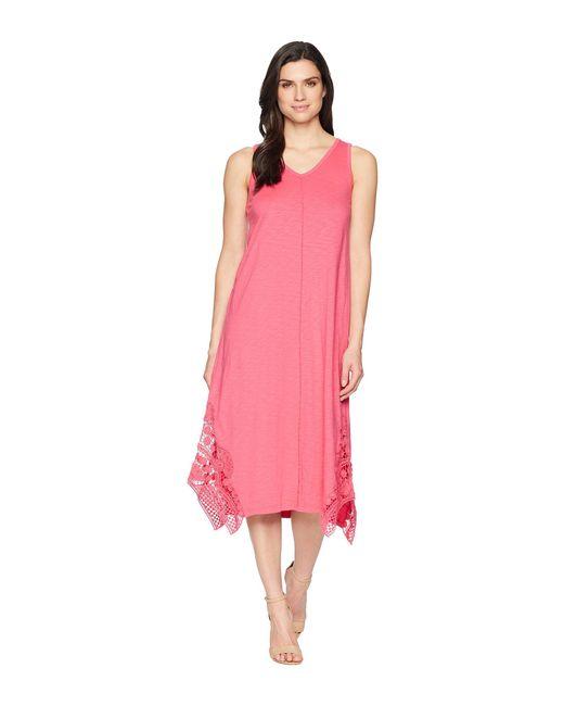 Mod-o-doc - Pink Heavier Slub Jersey Midi Tank Dress With Crochet Lace - Lyst