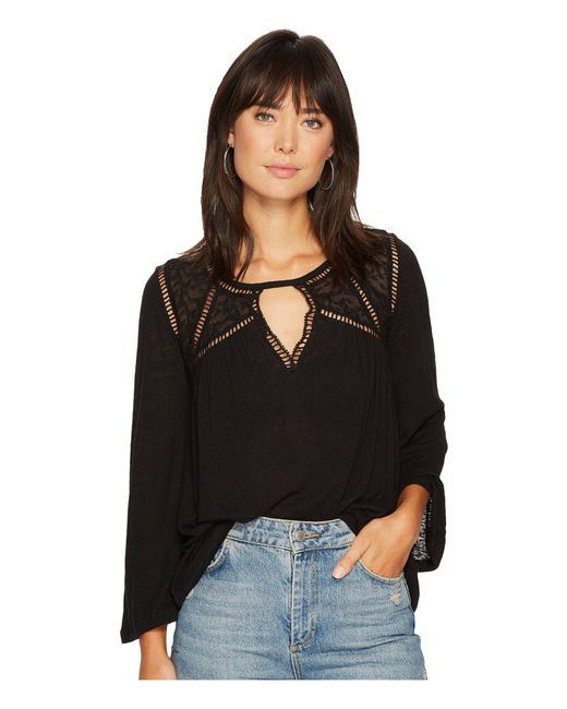 Lucky Brand - Black Lace Mix Peasant Top - Lyst