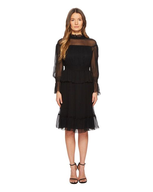 See By Chloé - Black Silk Crepon Dress With Ruffles - Lyst