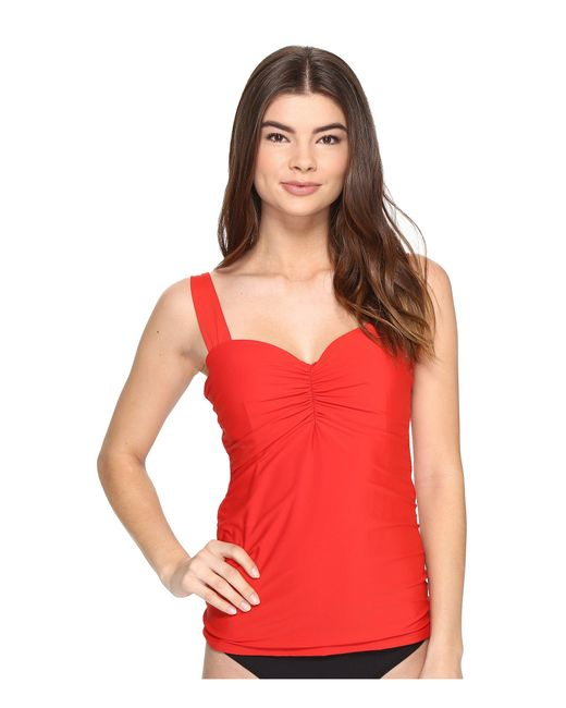 Athena - Red Cabana Solids Chantele Underwire Tankini Top - Lyst