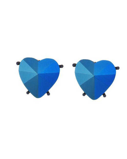 Betsey Johnson - Blue Heart Clip Earrings - Lyst