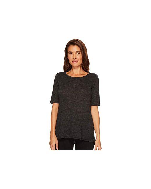 Allen Allen - Sweater 1/2 Sleeve High-low Tee (black) Sweater - Lyst