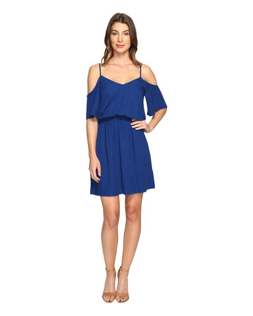 Splendid | Blue Rayon Crosshatch Cold Shoulder Dress | Lyst