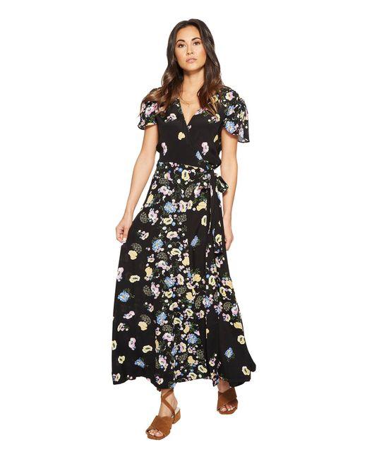 Free People - Black Gorgeous Jess Wrap Dress - Lyst