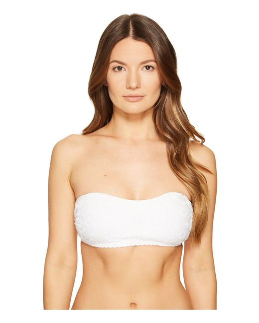 Kate Spade - White Half Moon Bay #58 Bandeau Bikini Top W/ Removable Soft Cups And Halter Straps - Lyst