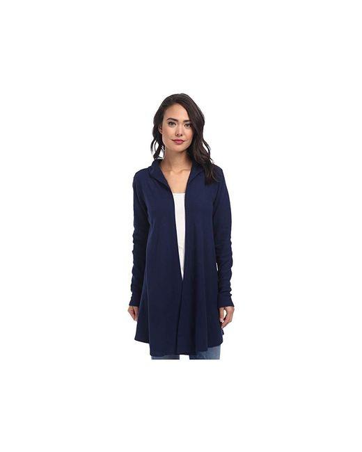 Allen Allen - Blue Hooded Open Cardigan (lapis) Sweater - Lyst
