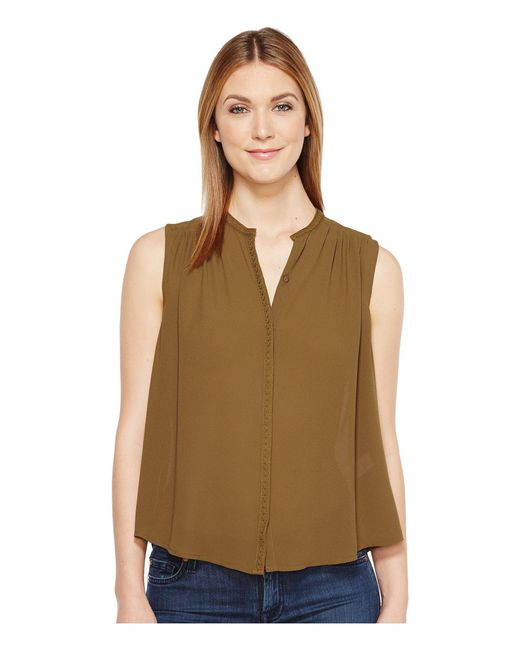 Lucky Brand - Green Pleated Tank Top - Lyst