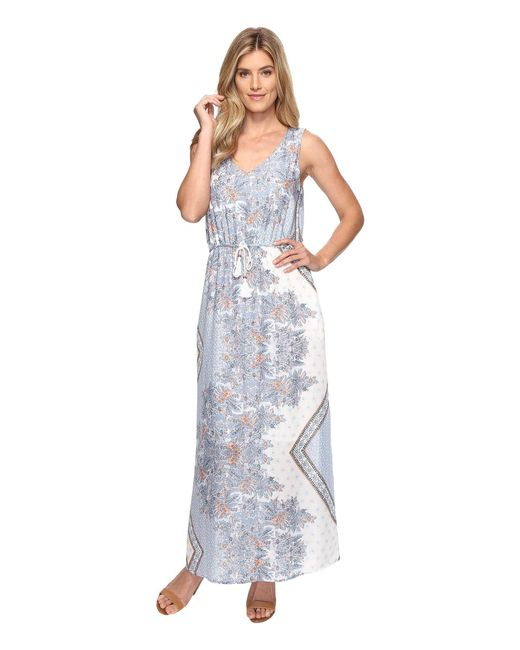 Dylan By True Grit | Blue Vintage Boho Bandana Maxi Tie Dress W/ Pockets And Lining | Lyst